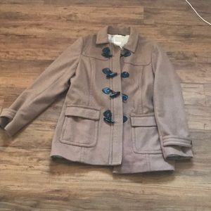 Banana Republic Pea Coat in dark sand color L NWOT